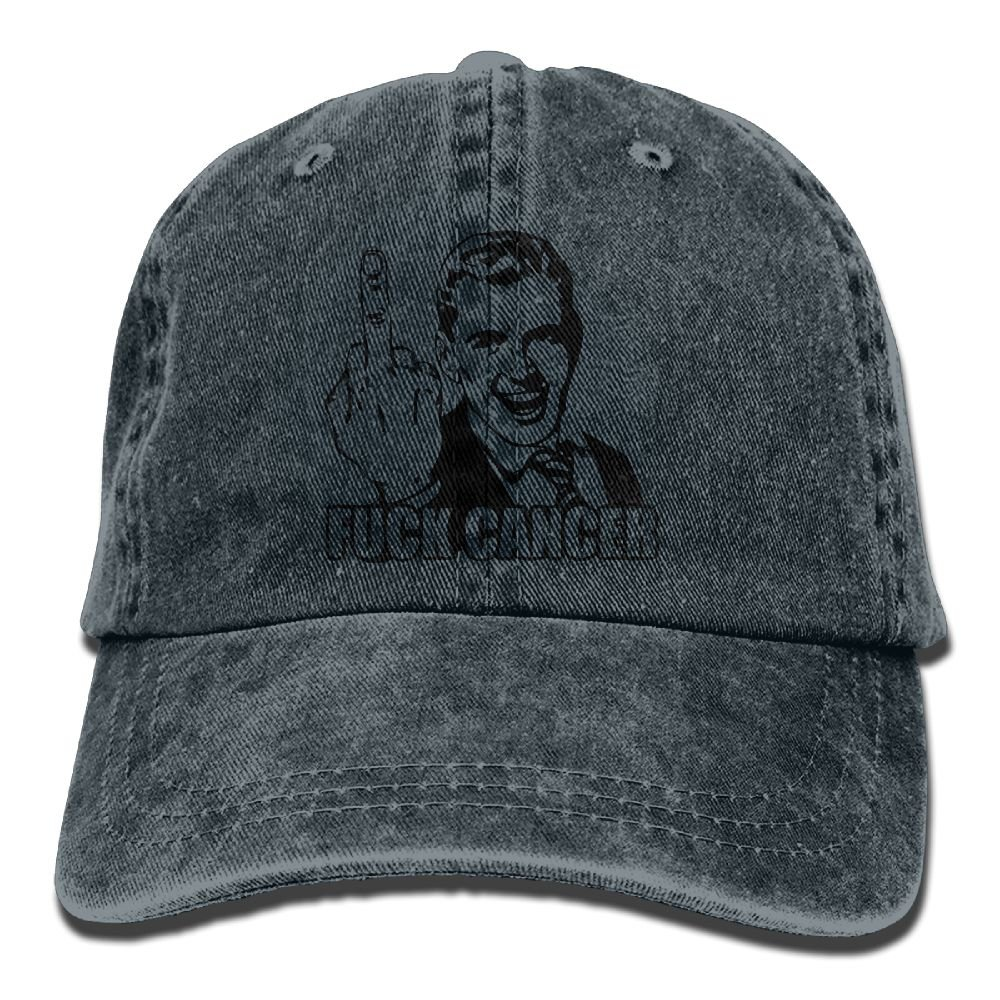 XZFQW Fuck Cancer Middle Finger Trend Printing Cowboy Hat Fashion Baseball Cap for Men and Women Black