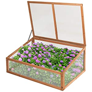 Giantex Wood Cold Frame Garden Greenhouse Raised Bed Protective Planter for Vegetable and Flowers, Indoor and Outdoor Vented Plant Cover (1 Large Lid (40