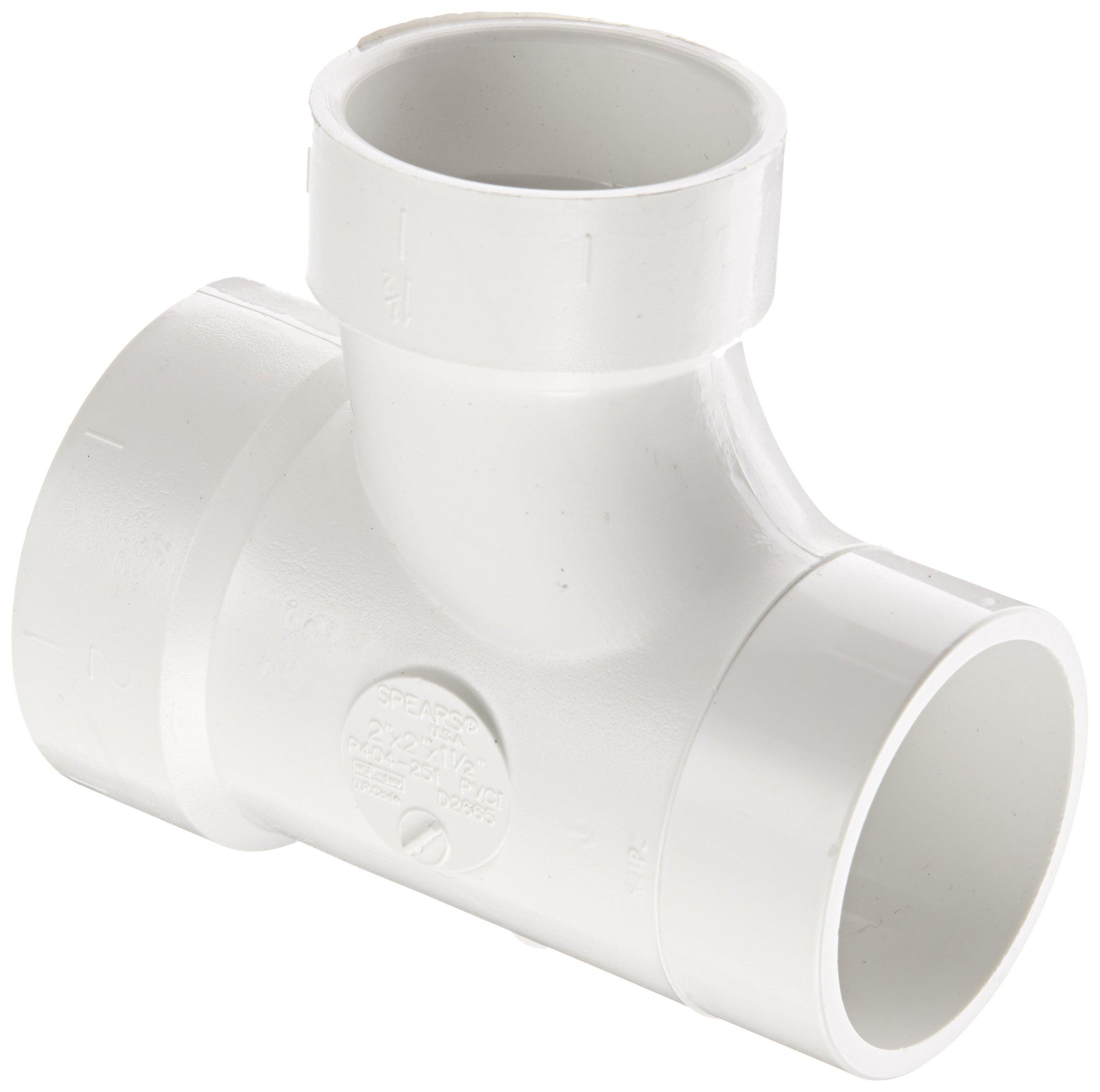 Spears P404 Series PVC DWV Pipe Fitting, Reducing Sanitary Tee, 2'' Spigot x 2'' Hub x 1-1/2'' Hub