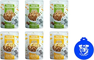 Applaws Taste Toppers Wet Dog Food in Gravy in 2 Flavors: (3) Chicken Breast With White Beans, Pumpkin & Peas and (3) Lamb With Zucchini, Carrot & Chickpeas (6 Pouches Total, 3 Oz Each) + Silicone Lid