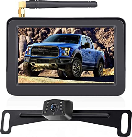 LeeKooLuu F08 HD Wireless Backup Camera and 4.3 Monitor System for Cars//ATVs//SUVs//UTVs//Can-Am IP69 Waterproof 6 LED Light Night Vision Rear//Front View with Grid Lines DIY Setting