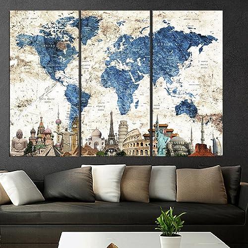Amazoncom Art Canvas Pieces World Map Push Pin Wall Art Canvas - 3 piece world map wall art