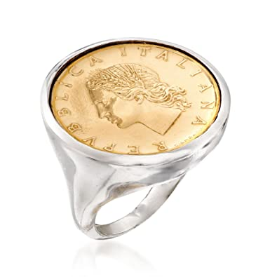 Amazon.com: Ross-Simons - Anillo de plata de ley con moneda ...
