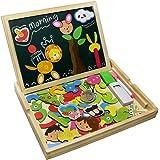 Fajiabao Giocattolo educativo con lavagnetta Magnetica Puzzle di Legno Doppio Lato Gioco per Bambini 3 Anni