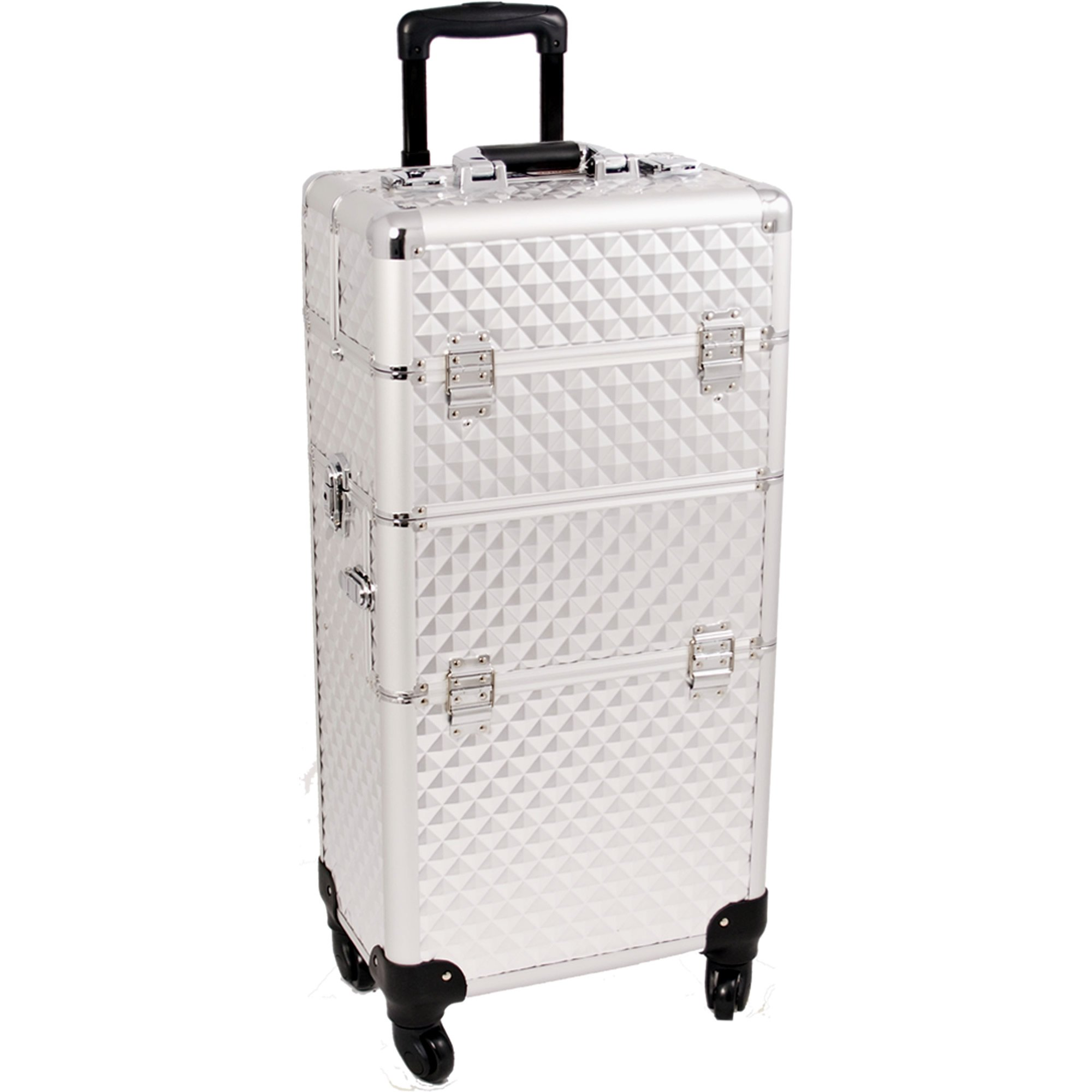 SUNRISE Makeup Case on Wheels 2 in 1 Professional Artist Organizer I3161, 4 Slide and 1 Removable Tray, 4 Wheel Spinner, Silver Diamond