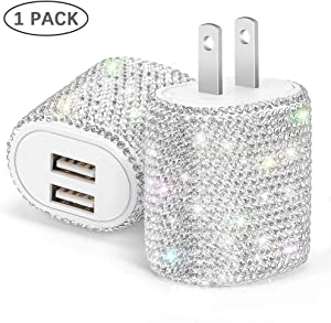 Bling USB Wall Charger,5V/2.4A Dual Port Quick Fast Charger Plug Cell Phone Block Adapter for iPhone 11/Xs/XS Max/XR/X/8/7/6/Plus,iPad Pro/Air 2/Mini 3/4,Android Samsung Note/Galaxy 9/8/7/10(1 Pack)
