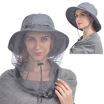 277846fe433b6f UShake Mosquito Head Net Hat, Safari Hat Sun Hat Bucket Hat with Hidden Net  Mesh