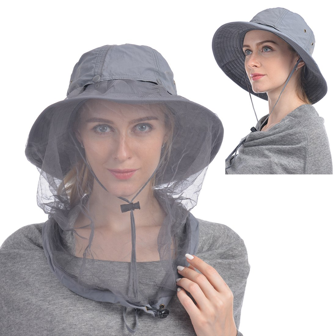 596ee1e79496a7 UShake Mosquito Head Net Hat, Safari Hat Sun Hat Bucket Hat with Hidden Net  Mesh Protection from Insect Bug Bee Mosquito Gnats for Outdoor Lover Men or  ...