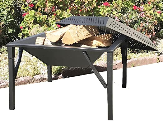 Zynuo OD Foldable Portable Wood/Charcoal Outdoor Camping Tailgate Picnic Iron BBQ Fire Pit