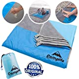 Premium Sandmat And Waterproof Combined - Outdoor Beach Blanket Sand Free/Beach Towel/Picnic Blanket Waterproof And SandFree large Sand Proof, Fast Dry, Strong Nylon, 7.2' X 6.6', 4 Metal Stakes