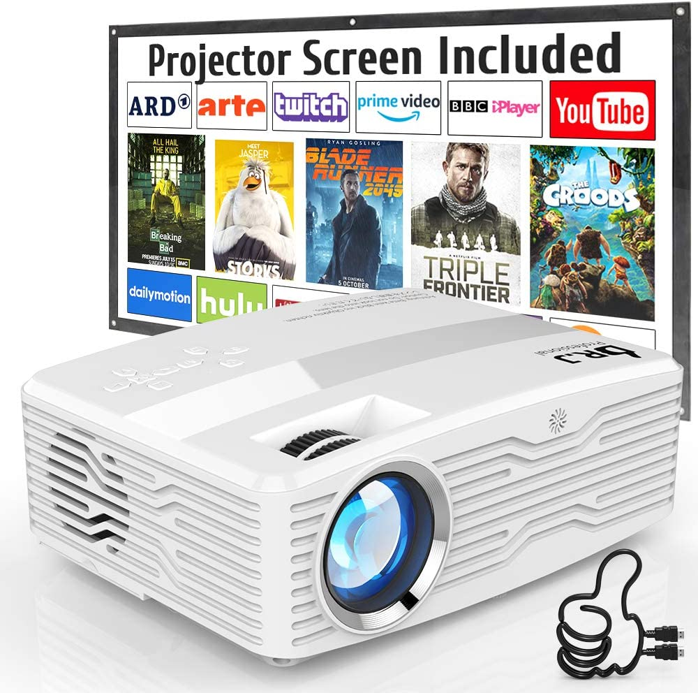"[Native 1080P Projector] DR. J Professional 6800Lumens LCD Projector Full HD Projector 300"" Display, Compatible with TV Stick, HDMI, AV, VGA, PS4, Smartphone for Home Theater, Presentations"