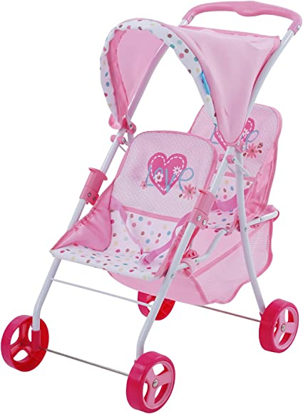 Cutest Heart Design Doll Twins Stroller My First Doll Twin Stroller Great Toy Gift for Girls