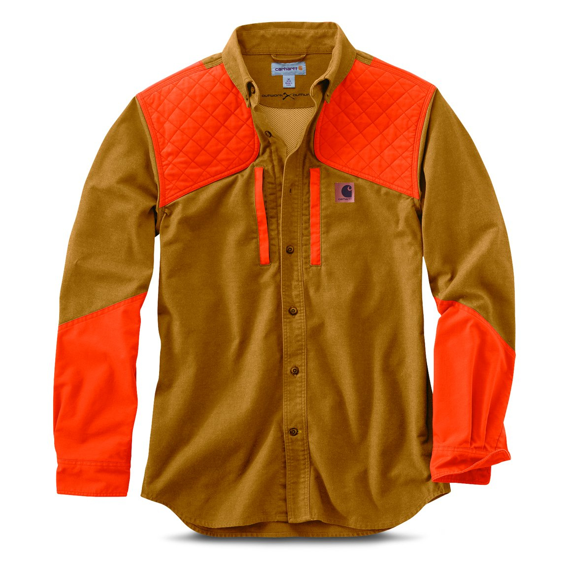 3b5a96eb4c1bf Double-front, quilted hunter orange nylon recoil pad at shoulders. Two  welted, mesh-lined pockets at chest with ...