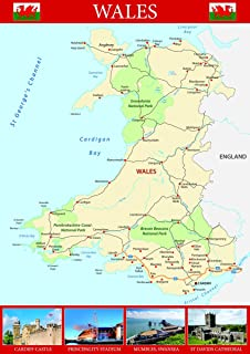 Wales Map Paper 100 x 126 cm APPROX Amazoncouk Kitchen Home