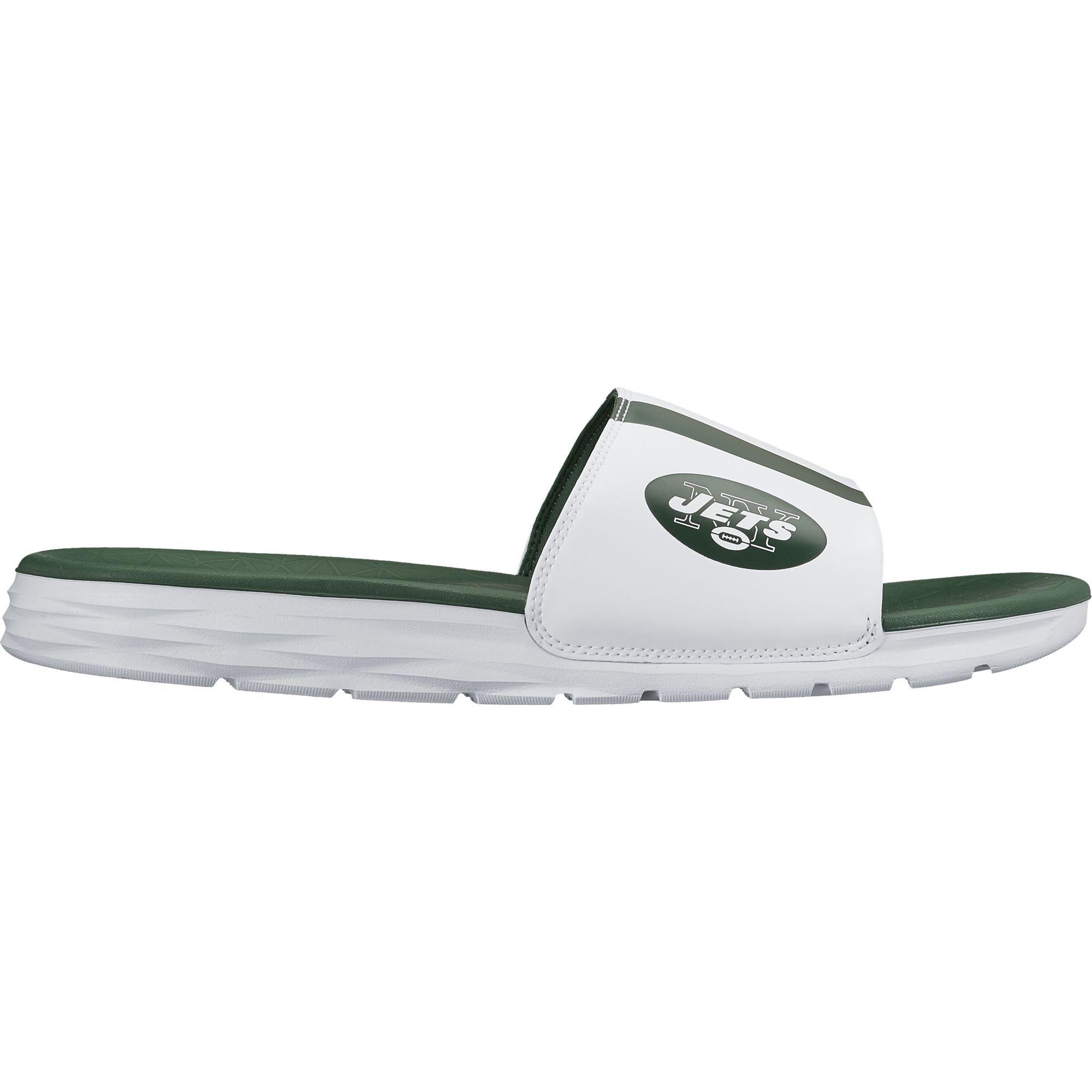 44705d8ec101 Galleon - Nike Men s Benassi Solarsoft New York Jets NFL Sandal White Green  Size 10 M US