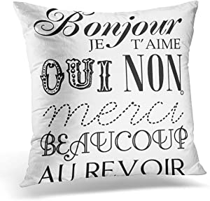 Jbralid Paris French Word Shabby Chich Accessories Pillow Cover Hidden Zipper Cotton Indoor Throw Pillow Case Cushion 18x18 in