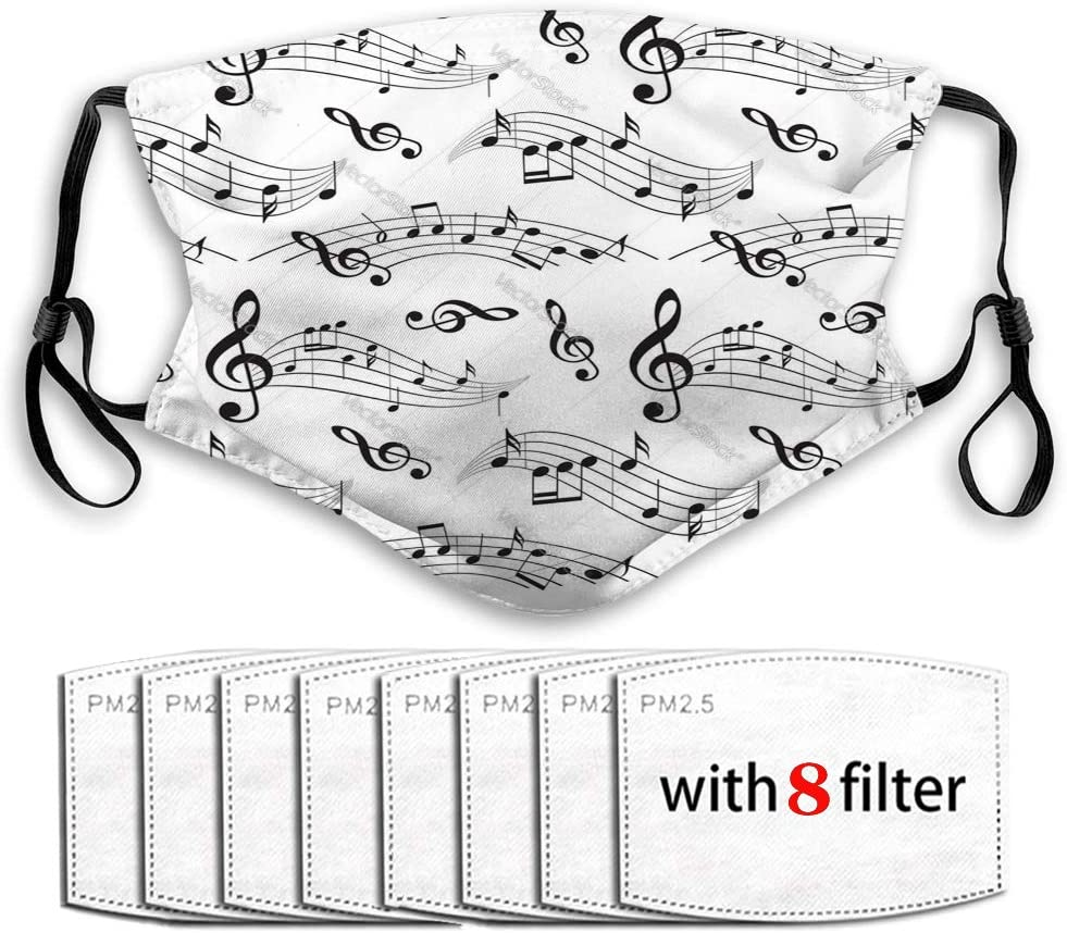 GIRDEAR Anti-Dust Shield for Women and Men with Replaceable Filters Seamless Pattern with Music Notes Background Reusable Cover