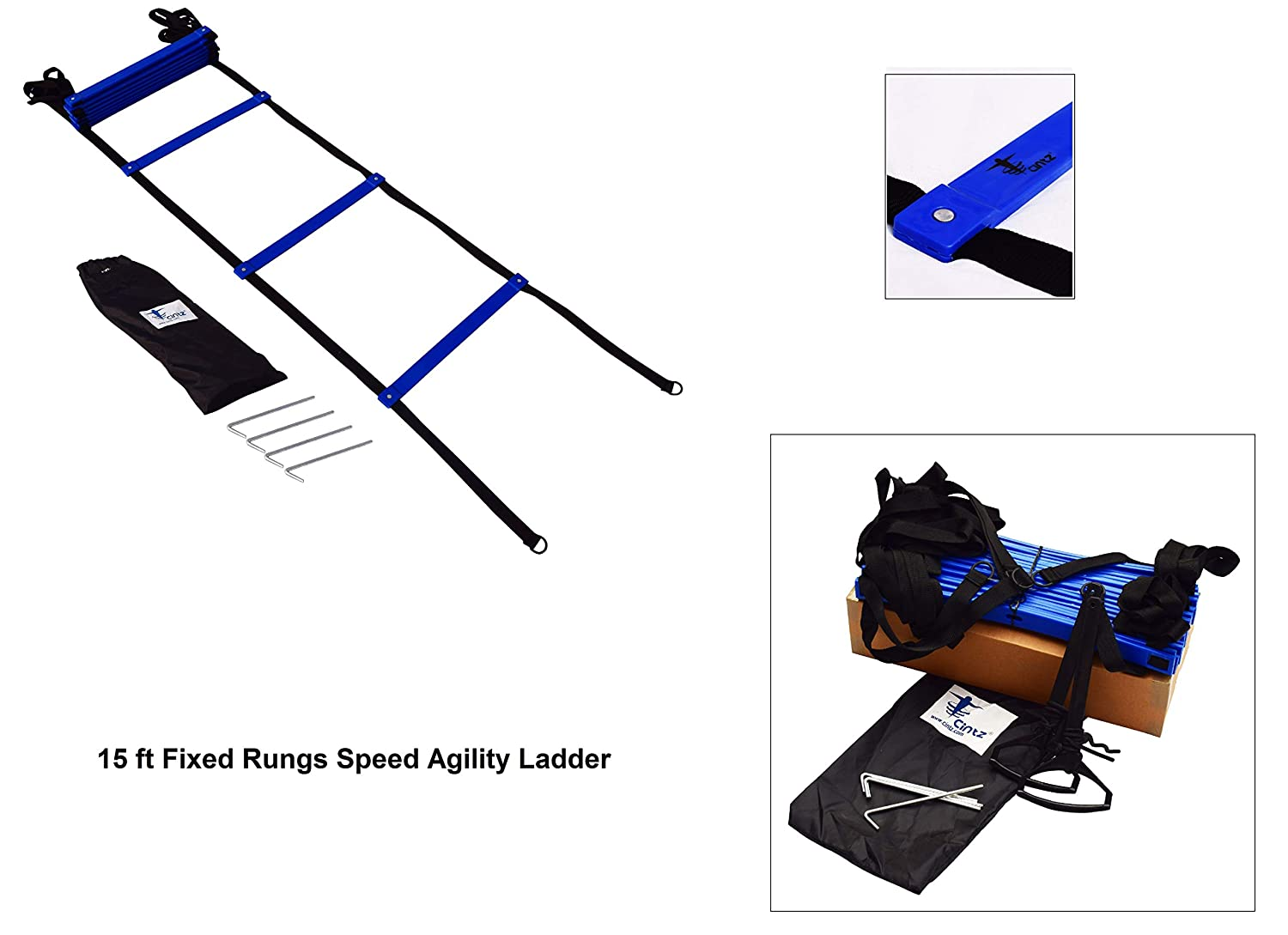Fixed Rungs,with Ground Anchors and Bag Multiple Lengths Cintz Speed Agility Ladder