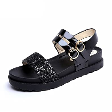 4eead25ac05e75 Processes Women Summer Shoes 2018 New Women Ankle Strap PU Sandals Bling  Rhinestones Flats Black 35