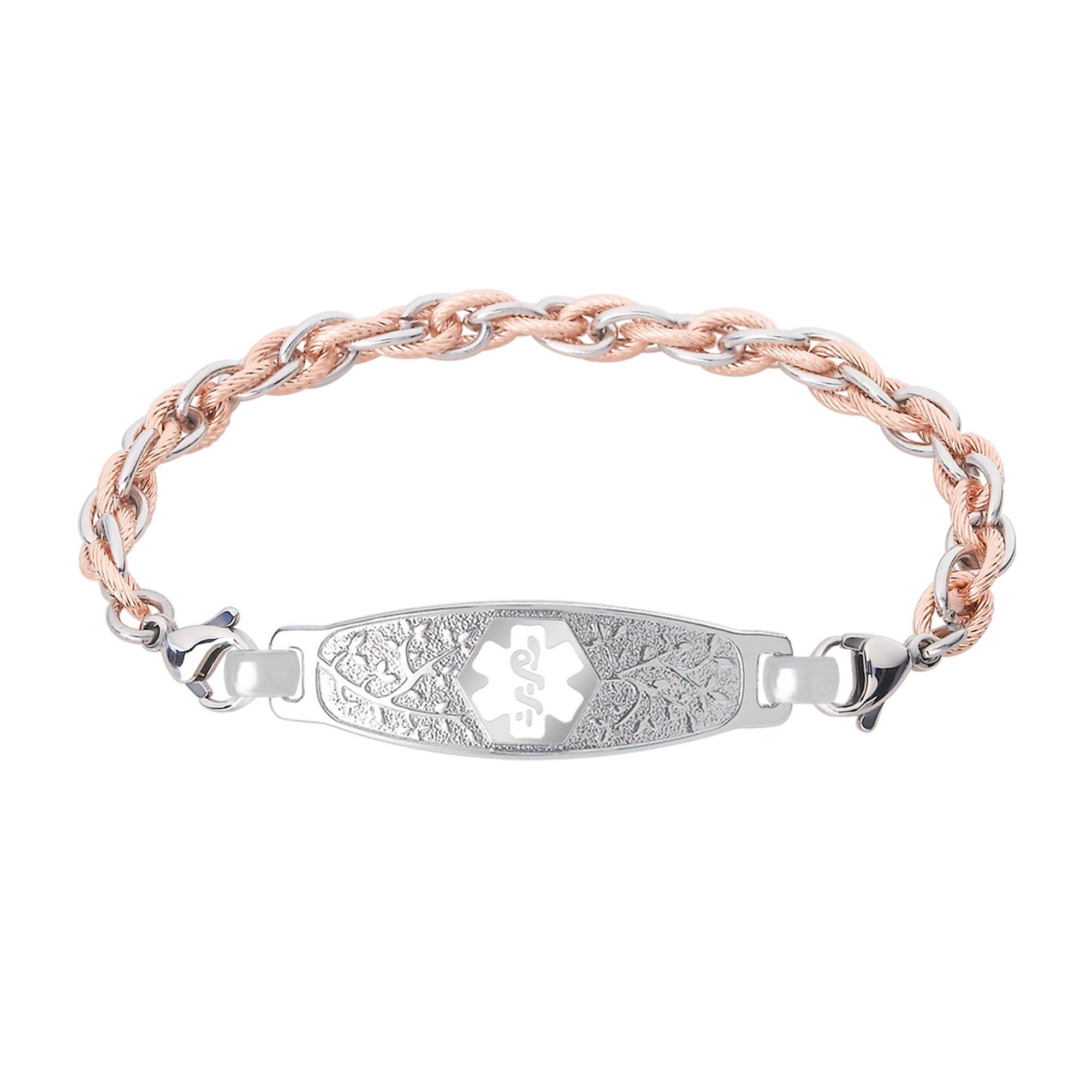 Divoti Custom Engraved Elegant Olive Medical Alert Bracelet -Inter-Mesh Rose Gold/Silver Stainless -White-6.5''