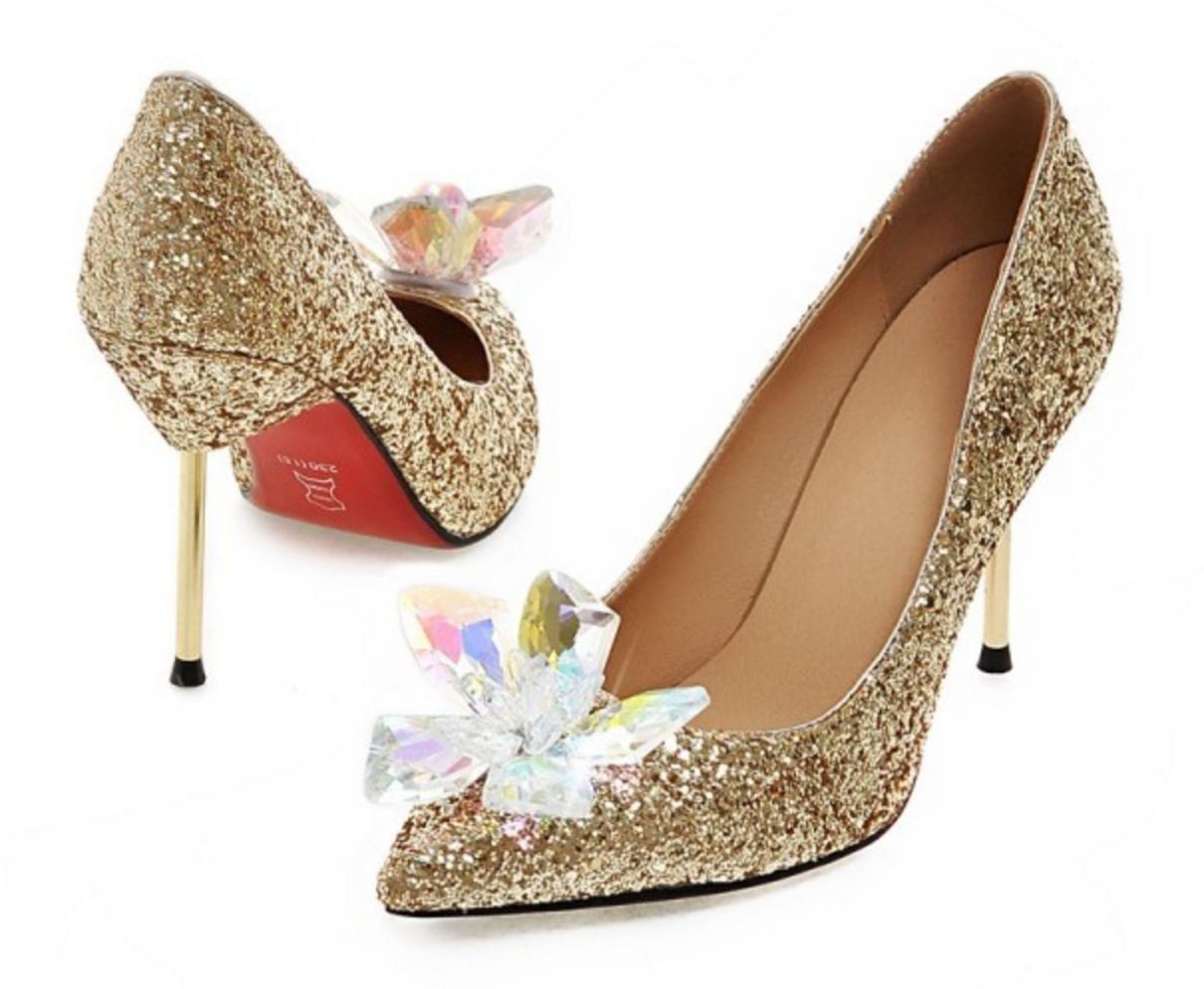 HYLM Hot Aschenputtel Kristall Schuhe spitze Schmetterling Blume Silber Diamant spitze Schuhe High Heels Fine mit Hochzeit Schuhe Bankett Schuhe gold 9453f9