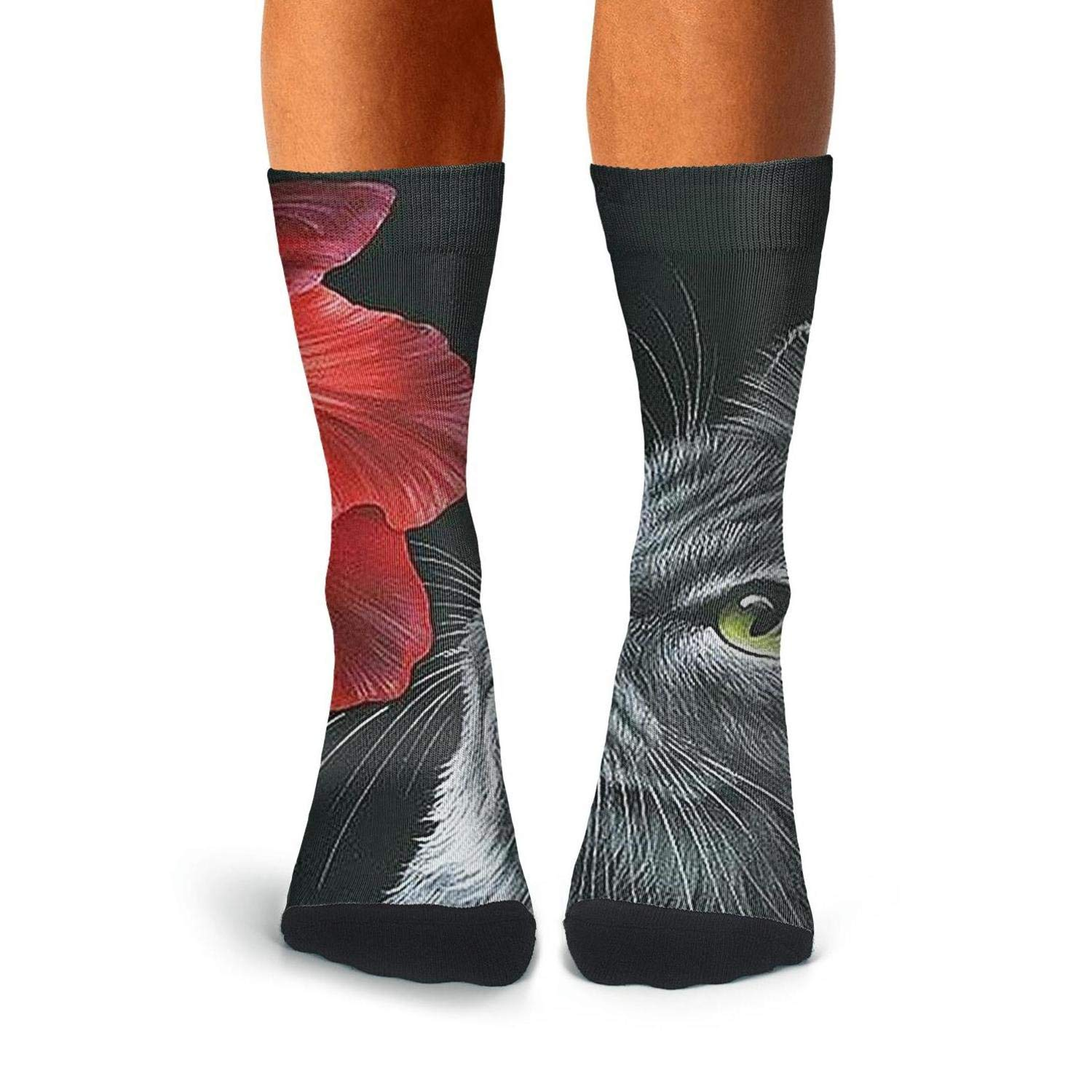 Knee High Long Stockings KCOSSH Arts Cat /& Flower Unique Calf Socks Print Crew Sock For Mens