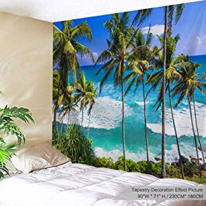 ALFALFA Beach Tapestry Coconut Palm Trees Tapestry Nature Tropical Hawaii Ocean Sea Waves View Scenery Blue Sky Tapestry Wall Hanging for Bedroom Living Room Dorm Office Decoration 90 x 71 Inch