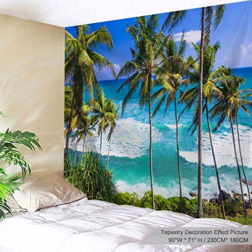 ALFALFA Wall Hanging Decor Nature Art Polyester Fabric Tapestry, Ocean Beach Theme, for Dorm Room, Bedroom,Living Room – 90 W x 71 L 230cmx180cm – Overlooking Coconut Trees