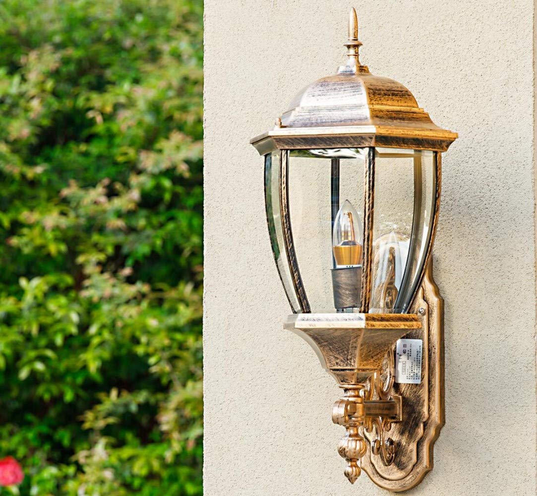 Applique da parete per esterni Lampada da parete esagonale curva in bronzo da 9 pollici Adatta per esterno giardino luce corridoio balcone corridoio luce XCBD