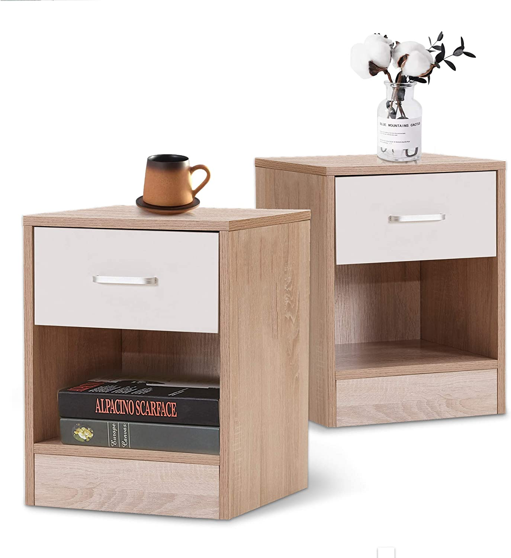 Amazon Com Modern Nightstands Bedroom Set Of 2 Small Kids Bedside