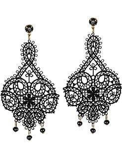 Amazon 1928 jewelry jet and black crystal chandelier earrings mints black lace earrings gothic jewelry for women tassel beads chandelier motif cut out drop dangle aloadofball Gallery