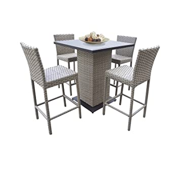 TK Classics Oasis Pub Table Set With Barstools 5 Piece Outdoor Wicker Patio  Furniture, Grey