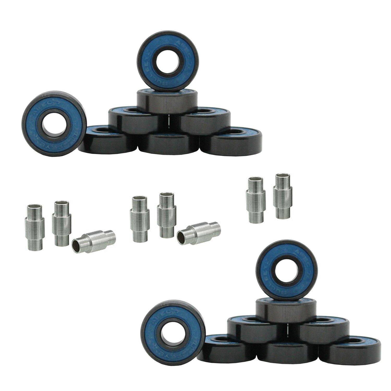 Hockey Bearings ABEC 9, 7, 5 Inline Roller Speed Package 16 Bearings and 8 Spacers Kit (ABEC 7 - Blue)