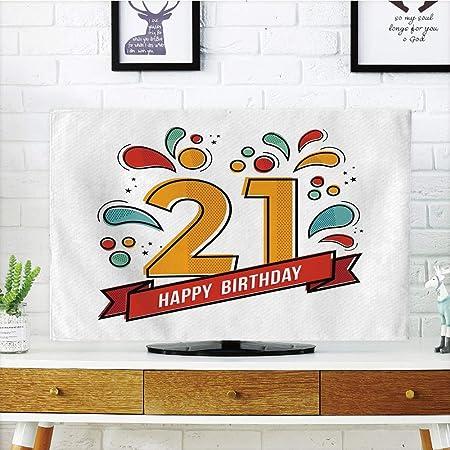 iprint - Cubierta Antipolvo para televisor LCD, 20 cumpleaños, diseño de Cupcakes con luz de Fondo, Color Rosa y Rojo, diseño de impresión 3D Compatible con televisores de 32 Pulgadas: Amazon.es: Hogar