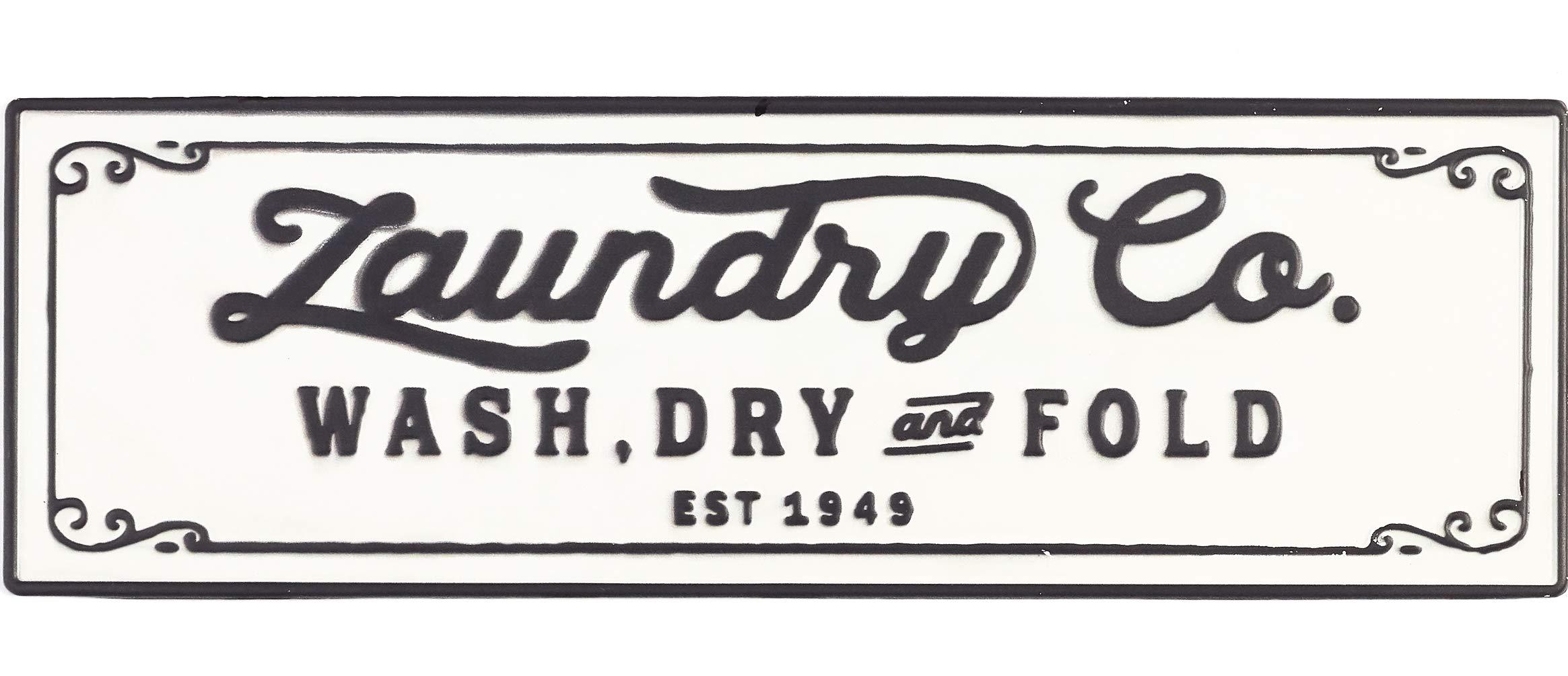 Accents de Ville Laundry Co. Vintage Farmhouse Metal Sign for Laundry Room Decor by Accents de Ville
