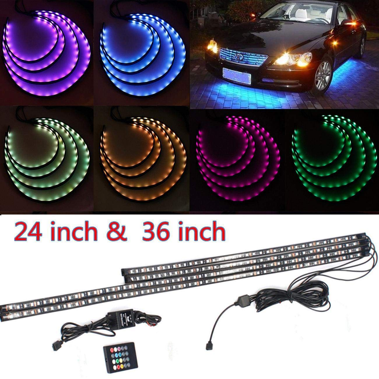 POWLAB Undercar Light, 4 in 1 Car LED Neon Glow Light Atmosphere Decorative Light Strip, Underbody System Waterproof Tube RGB 7 Color Underglow Light Strips with Remote Control