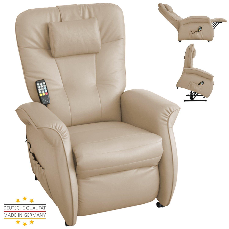 THRONER EXKLUSIV Massagesessel (Schlafsessel) mit elektrischer Aufstehhilfe und 5-Punktmassage in Hellbeige, Made in Germany
