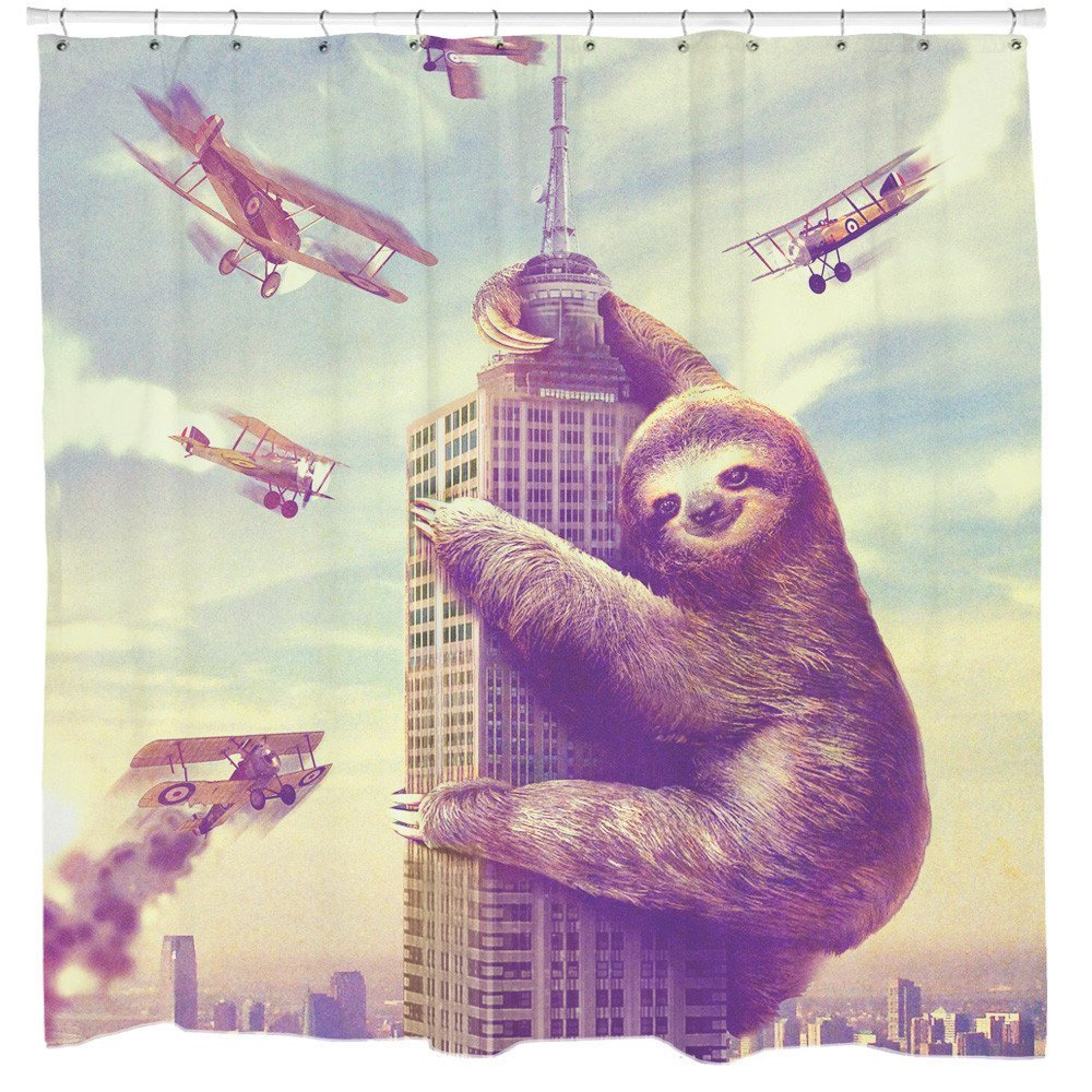 KLOLKUTTA Wild Animal Decor Shower Curtain, Mildew Resistant Bathroom Liner Fabric with Hook Digital Printing Animal Sloth Bath for Kid Size (Climbing Sloth in New York, 60'' W by 72'' L)