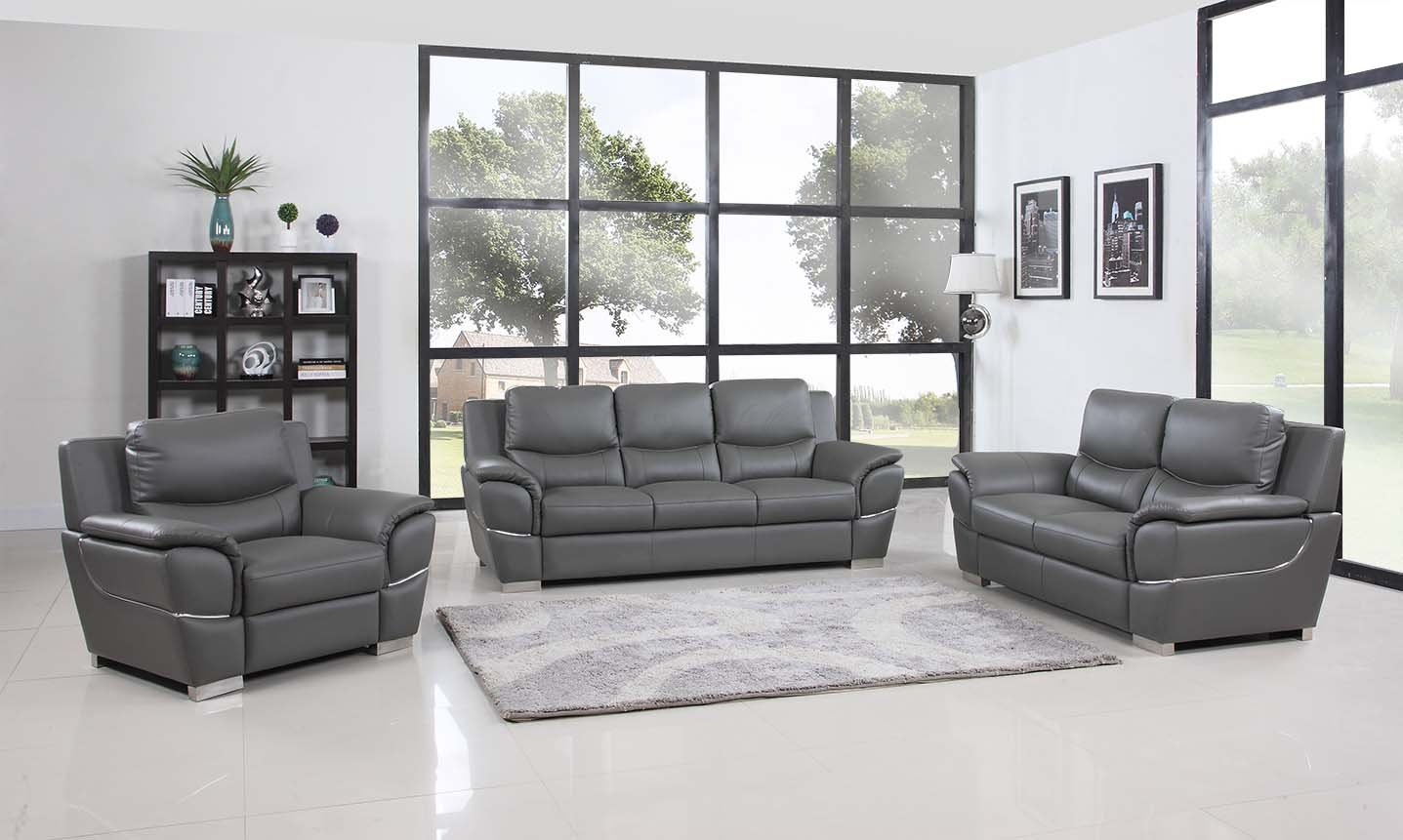 Blackjack Furniture Sofa Set Leather Match, Loveseat, Chair, Gray by Blackjack Furniture