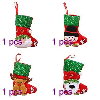 OULII Calcetines del árbol de Navidad Decoración Calcetín Navideño Ornamentos colgantes Decoración 4pcs