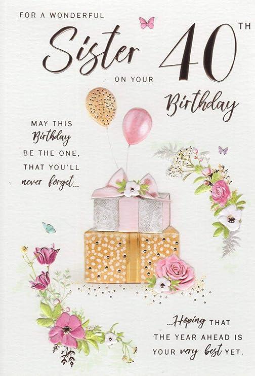 ICG Tarjeta de felicitación de 40 cumpleaños para Hermana ...