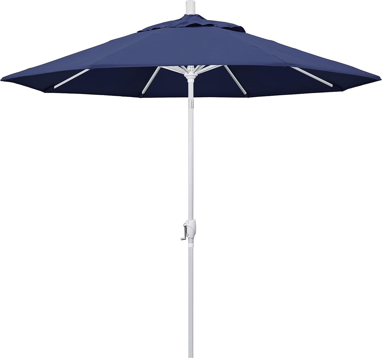 California Umbrella 9 Round Aluminum Market Umbrella, Crank Lift, Push Button Tilt, White Pole, Navy Blue Olefin