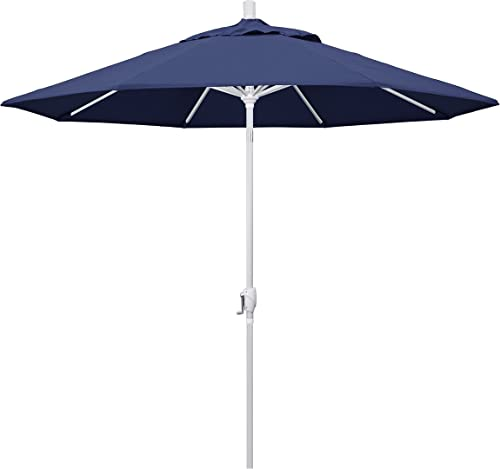 Sun-Ray 10 Solar Lighted Offset Solar Umbrella Navy