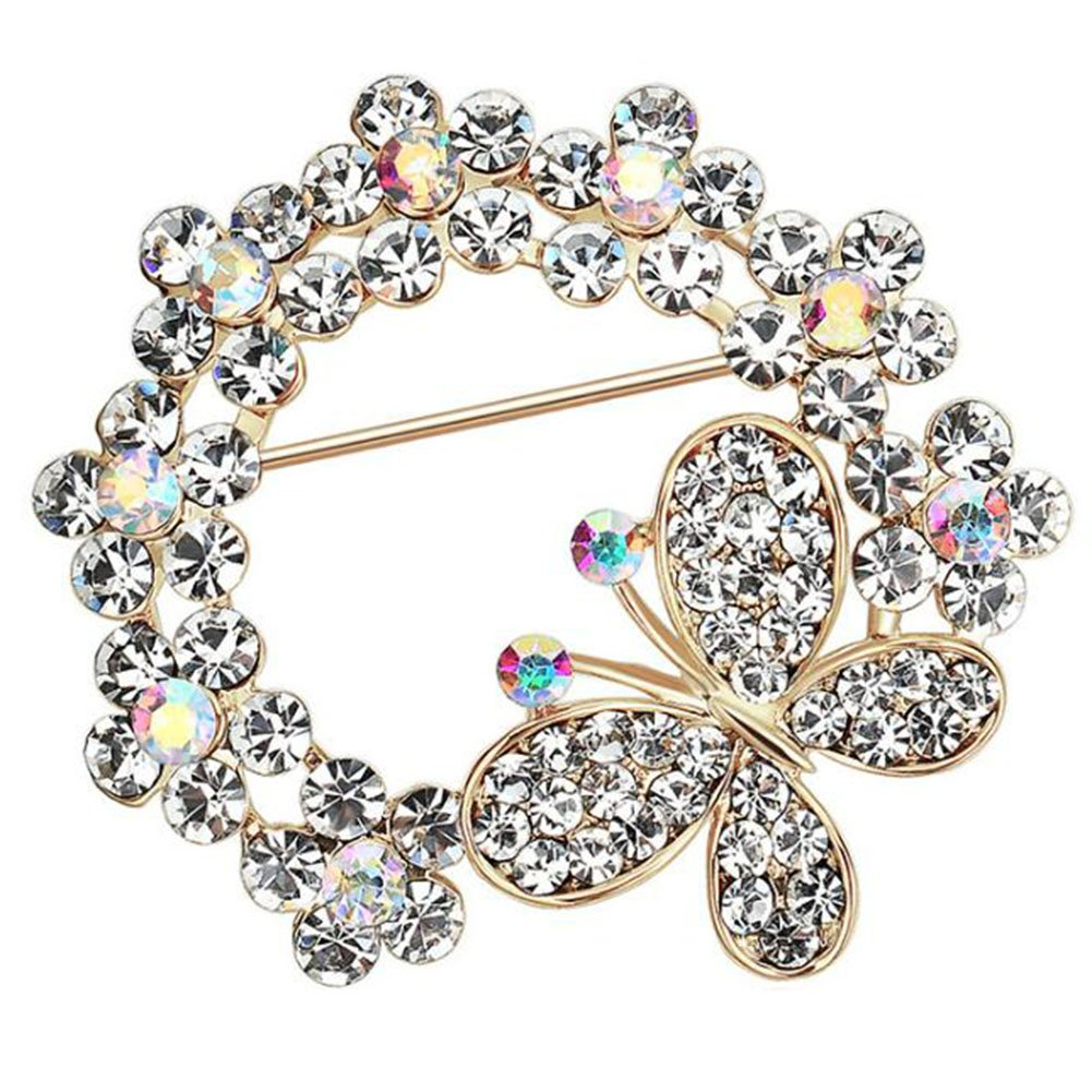 CAOLATOR Ladies Butterfly Brooches Crystal Flower Silver Brooches Pins Clothing Boutonniere for Women Girls