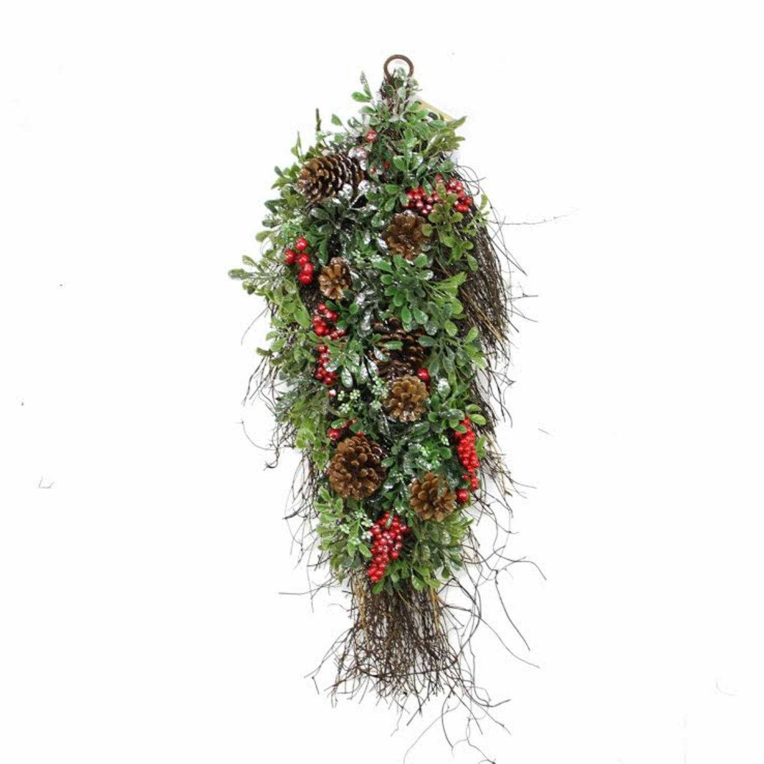 Northlight Unlit Glittered Artificial Boxwood Pine Cone and Red Berry Christmas Teardrop Swag, 28''
