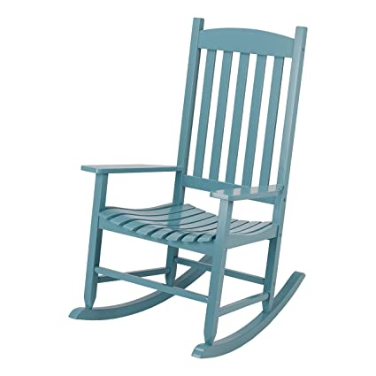 Astonishing Amazon Com Wood Slat Outdoor Rocking Chair Light Blue Gmtry Best Dining Table And Chair Ideas Images Gmtryco