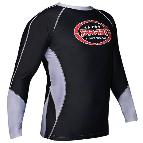 Farabi Mma Rash Guard Compression Top, Gym Training Body Armour, Bjj Base Layer Top