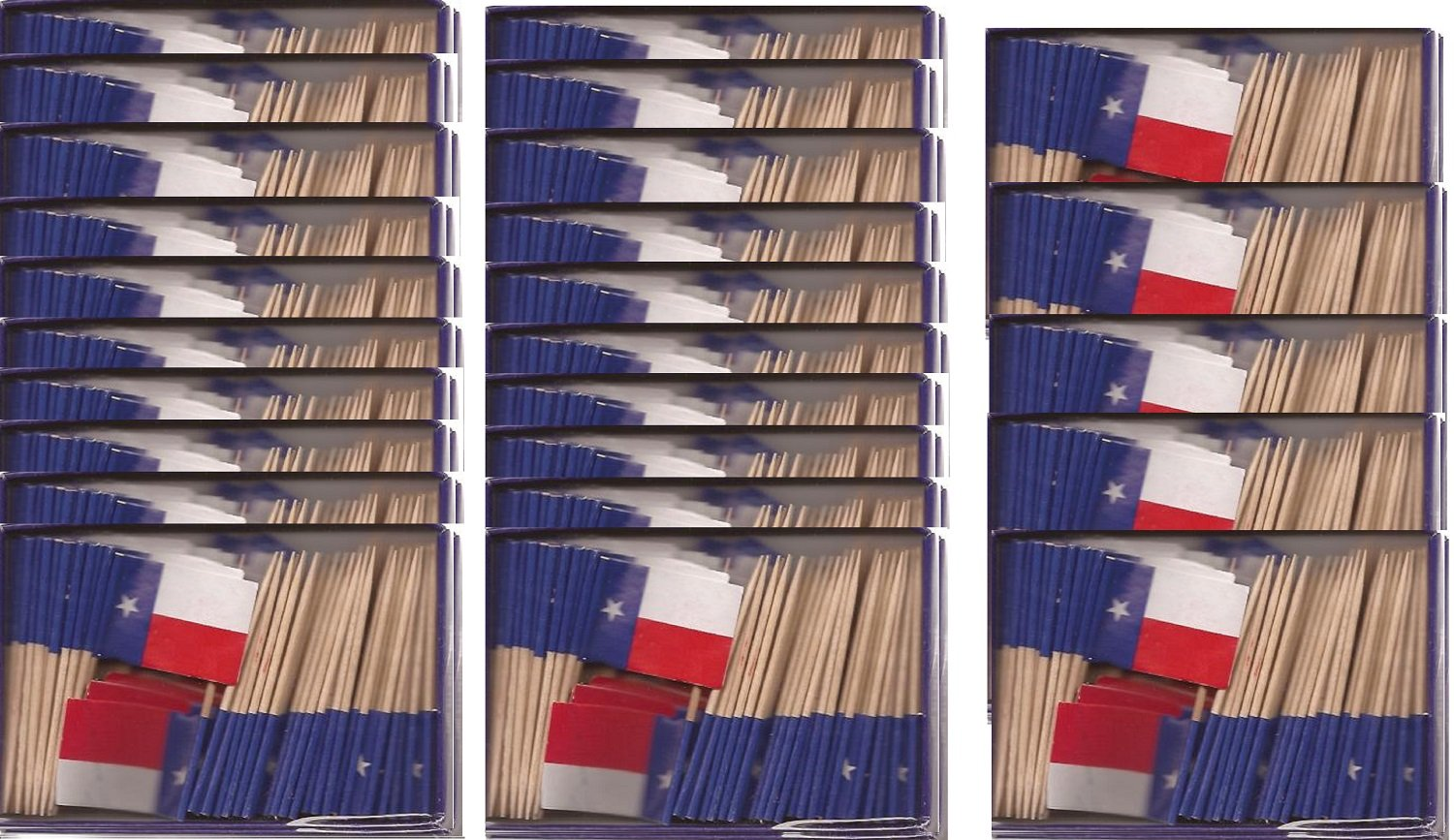25 Box Wholesale Lot of Texas Toothpick Flags, 2500 Small Mini Texan TX Flag Cupcake Toothpicks or Cocktail Picks by World Flags Direct (Image #1)