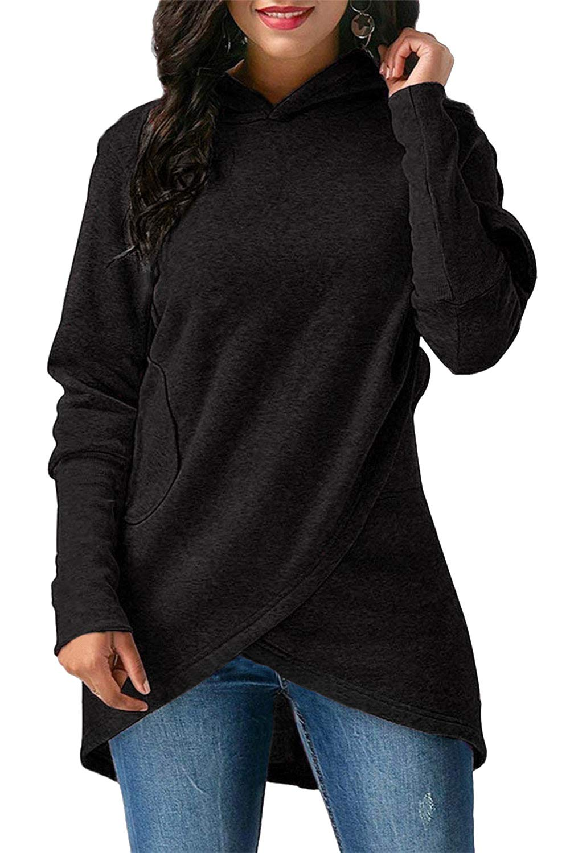 MineTom Womens Autumn Winter Long Sleeves Wrapped Hoodies with Pocket Casual Irregular Coat Jacket Hooded Sweatshirt Black US 10
