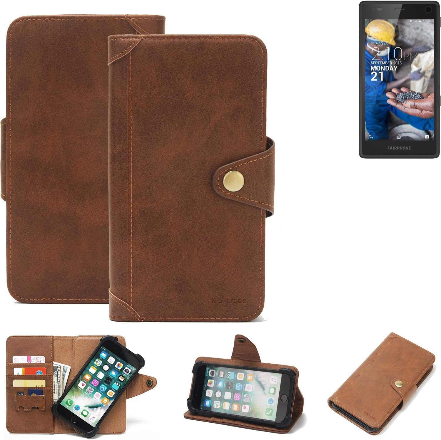 K-S-Trade Fairphone Fairphone 2 Wallet Case Mobile Phone Bookstyle Cover Phone Purse Protective Bag Mobile Phone Sleeve Book Case Flip Cover PU Brown (1x): Amazon.es: Electrónica